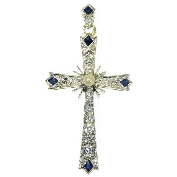 Estate Art Deco cross with diamonds sapphires and a pearl