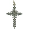 Dutch antique silver and gold cross with rose cut diamonds