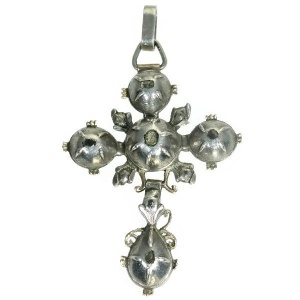 Early Victorian antique gold backed silver rose cut diamonds cross