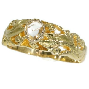Antique Victorian mens ring with one rose cut diamond