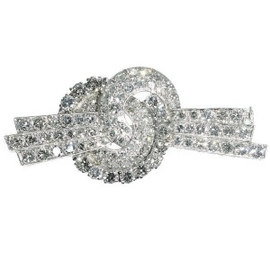 Platinum Art Deco diamond knot brooch from the Fifties