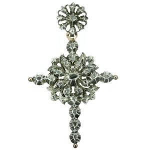 Antique Flemish Victorian cross with rose cut diamonds