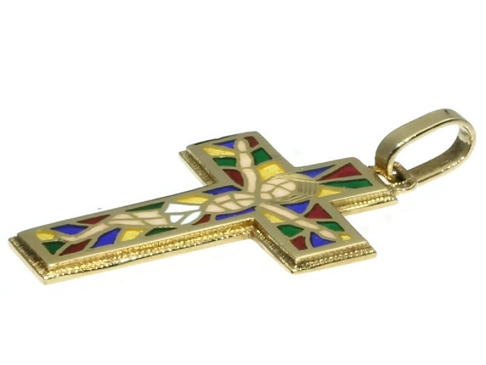Estate Portuguese cross with plique ajour enamel