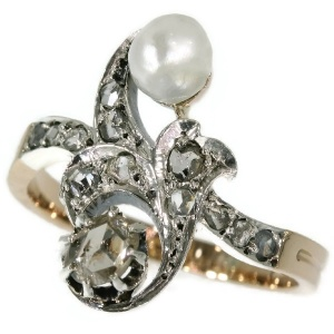 Antique diamond pearl ring Victorian cross over ring also called toi and moi