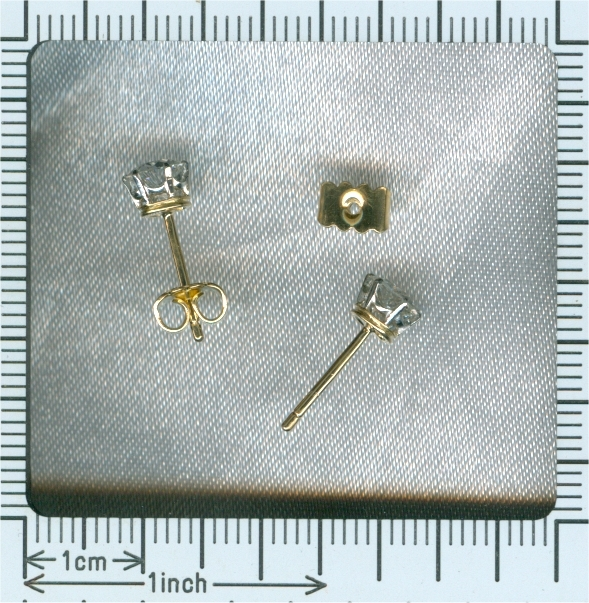 Art Deco platinum on gold diamond ear studs together 1 carat