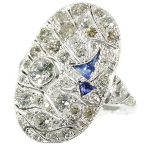 Art Deco ring with nautical theme diamonds and sapphires