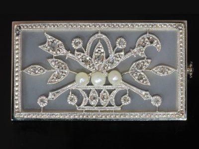 Edwardian brooch with diamonds pearls and rock crystal