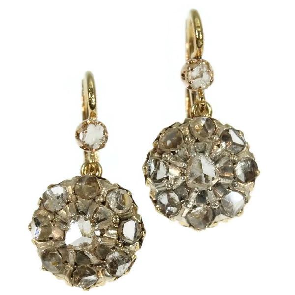 Victorian Antique Rose Cut Diamond Earrings