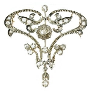 Art Nouveau diamond brooch pendant
