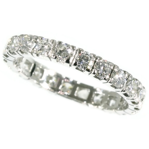 18K white gold estate eternity band with 2.20 carat diamonds