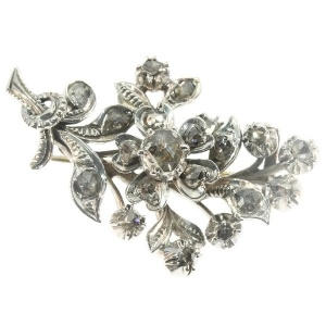 Victorian antique branch brooch rose cut diamonds set in gold backed silver