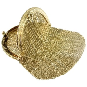 Antique gold mesh purse made by famous Amsterdam goldsmith Bennewitz