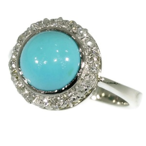 White gold estate diamond ring with turquoise