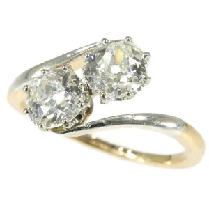 Belle Epoque toi and moi engagement ring with two one carat diamonds