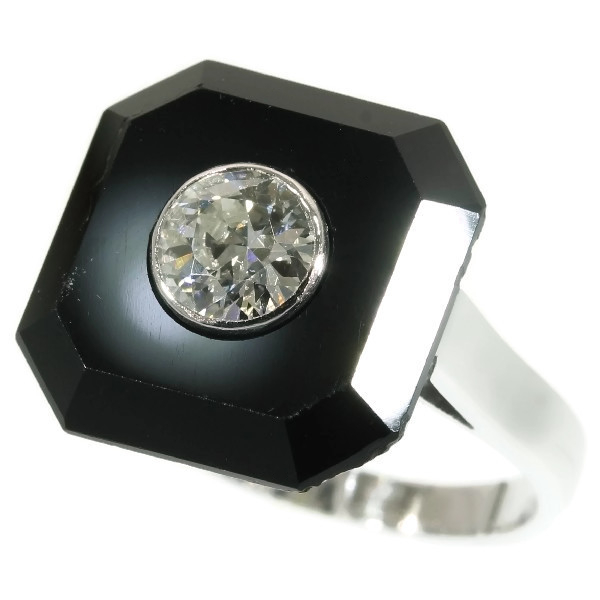 Art Deco onyx and diamond engagement ring