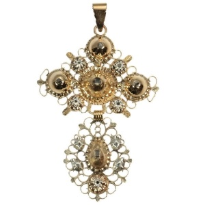Antique Belgian gold diamond pendant