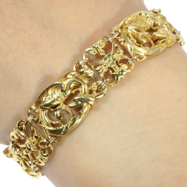 Victorian Art Nouveau Antique Gold Bracelet Griffins Animalistic Mythological