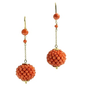 Victorian gold long pendent earrings with red coral