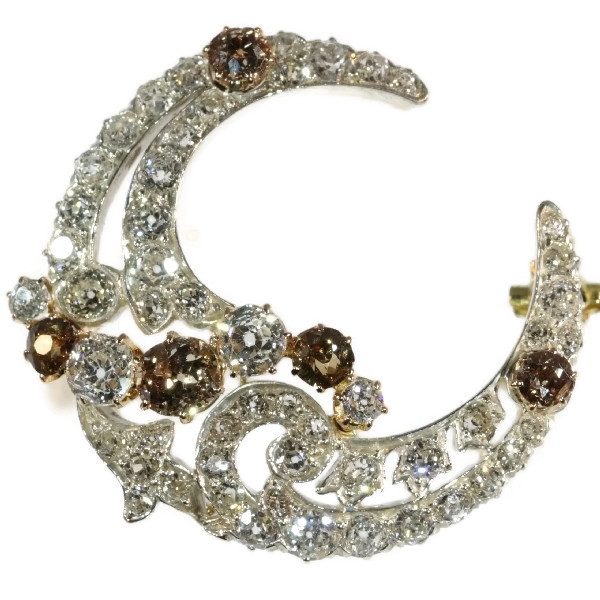 Antique brooch crescent moon with natural fancy color diamonds old cuts
