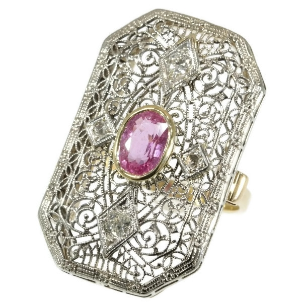 Antique ring Edwardian gold lace work with diamonds and pink sapphire