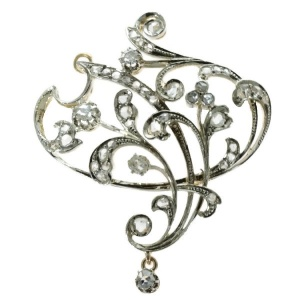 Art Nouveau brooch and pendant in gold with rose cut diamonds