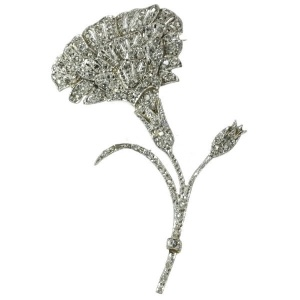 Antique Belle Epoque flower brooch fully encrusted with rose cut diamonds