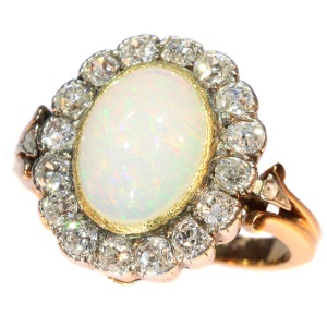 Antique Victorian opal and diamond ring multifunctional as necklace clasp