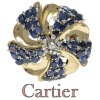 Fifties Signed Cartier Paris pendant brooch buckle with diamonds and sapphires