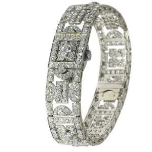 French Art deco diamond bracelet with hidden IWC watch