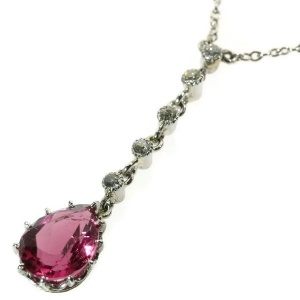 Estate platinum pendant with old mine brilliant cut diamonds and rubillite