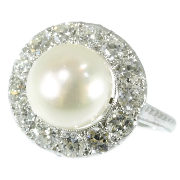 Diamond and pearl platinum estate engagement ring