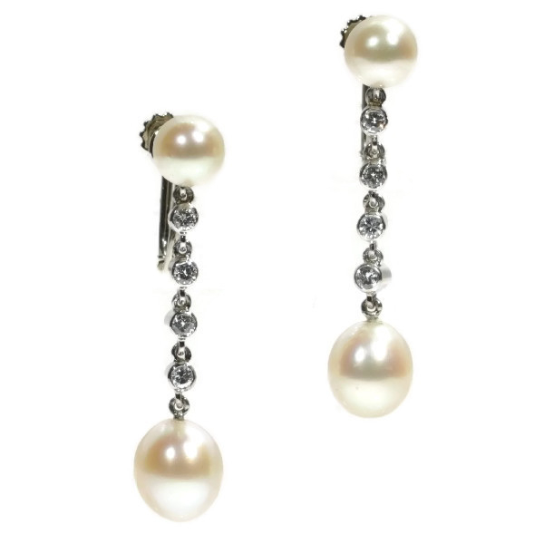 Platinum diamond and pearl long pendent earrings screws with safety system