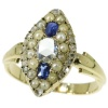 Orginal antique Victorian ring with rose cut diamonds sapphires and seed pearls