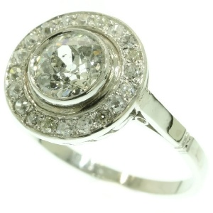 Estate platinum diamond engagement ring center stone 1.56 crt