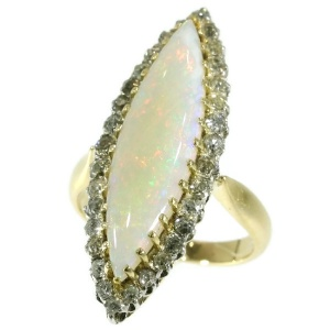 Original Antique Victorian opal and diamond ring
