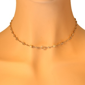 Elegant vintage diamond and pearl necklace diamonds all around the neck