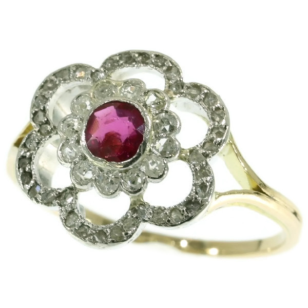 Art Deco roset ring platinum gold diamonds and ruby
