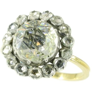 Antique Victorian engagement ring with humongous rose cut diamond
