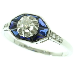 Original vintage Art Deco diamond and sapphire engagement ring