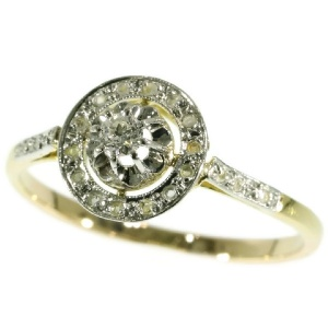 Art Deco engagement ring with brilliant cut diamond and rose cut diamonds