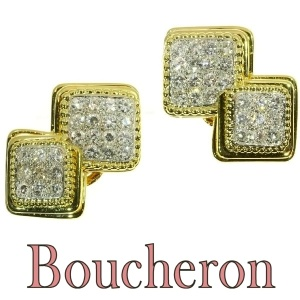 Signed Boucheron Paris estate diamond earclips gold and platinum