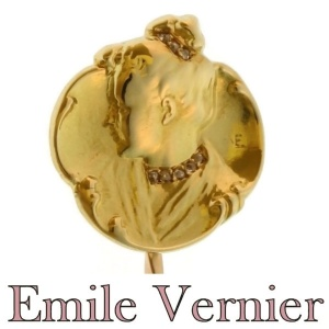 Original Art Nouveau gold and diamond tiepin by famous artist Emil Vernier