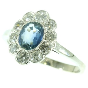 Platinum estate engagement ring sapphire brilliant cut diamonds Lady Di style