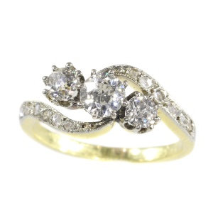 Victorian diamond cross-over ring engagement ring