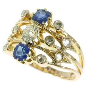 Antique Victorian ring multi shank with diamonds and sapphires