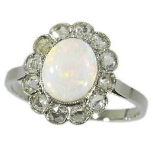 Art Deco diamond and opal ring