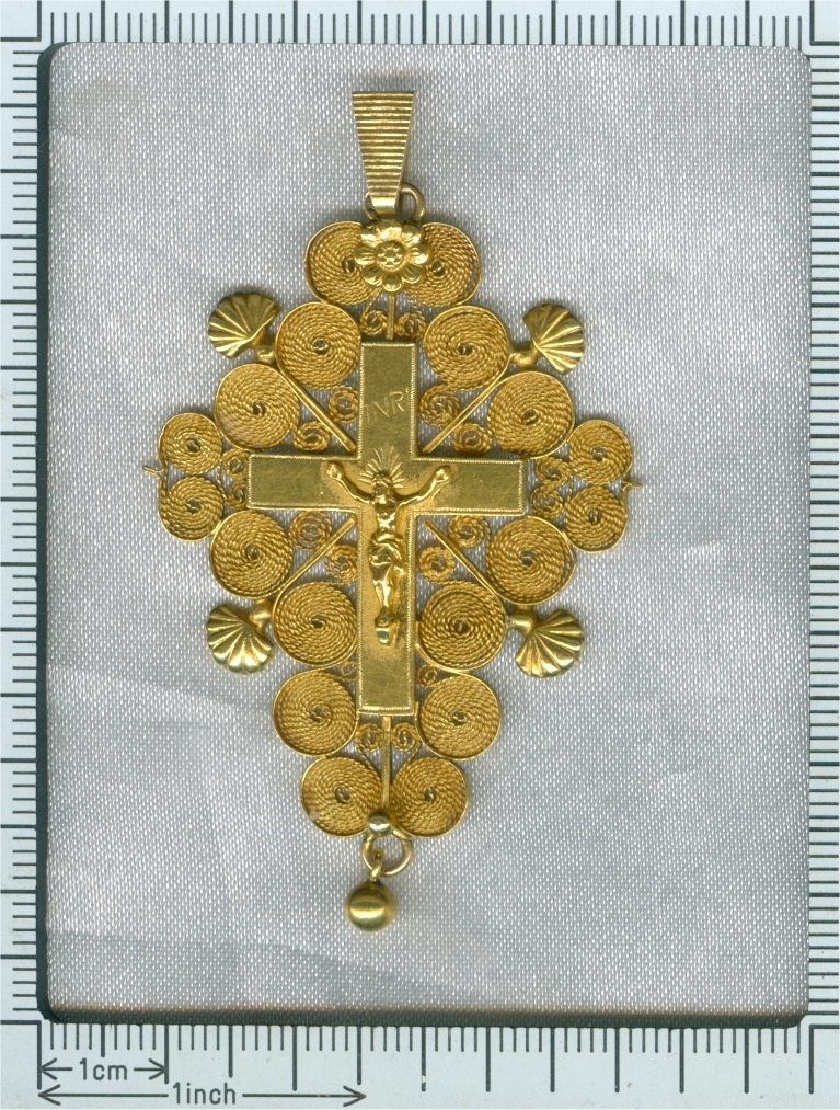 Antique French filigree cross - croix de Boulogne - 200 years old