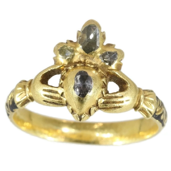 Extraordinary Claddagh or Fede engagement ring from the 17th Century