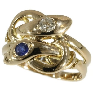 Antique ring Victorian two serpents intertwined set with diamond and sapphire