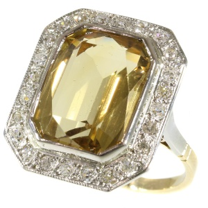 Vintage warm yellow citrine and diamond ring from the fifties.